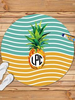 Fashion Striped Pineapple Printing Beach Scarf