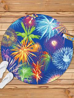 Beauty Firework Printing Round Beach Scarf