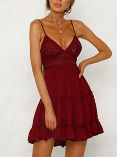 Deep V Neck Bandage Spaghetti Strap Dresses