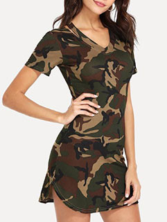 Fashion Camouflage Printed Short Sleeve Dress