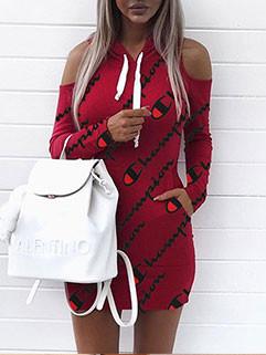 Off Shoulder Hooded Collar Printed Dress