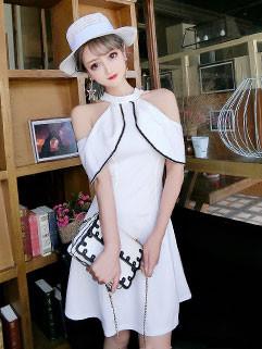 Chic Color Block Halter Off Shoulder Dresses