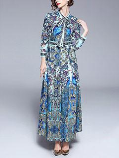 Elegant Printing Lace Up Long Dresses
