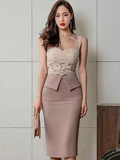 Lace Patchwork Bodycon Strap Dresses