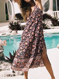 Floral Sleeveless Bohemian Long Dresses