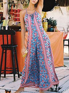 Holiday Bohemian Floral Sleeveless Jumpsuits