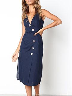 Elegant Single Breasted Sleeveless Long Dresses