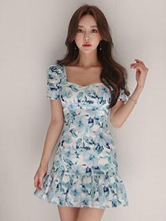 Floral Pleated Short Sleeve Dresses