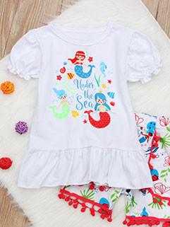 Fashion Printed Lantern Sleeve Children Sets