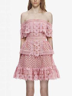 Sexy Off Shoulder High Waist Lace Hem Dress