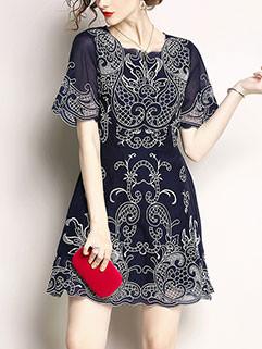 Euro Embroidery O Neck Short Dresses