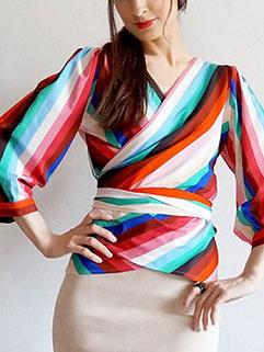Fashion Tie-wrap V-Neck Solid Fashion Blouse