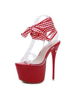 Fashion Thin Heel Lace Up Plaid Platforms