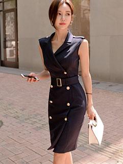Korean OL Style Double-breasted Sleeveless Dresses