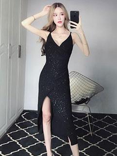 Hot Selling Sexy V Neck Split Hem Straps Dress