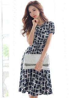 Vintage Plaid Short Sleeve Dress