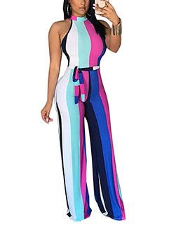 Fashion Euro Striped Sleeveless Jumpsuits