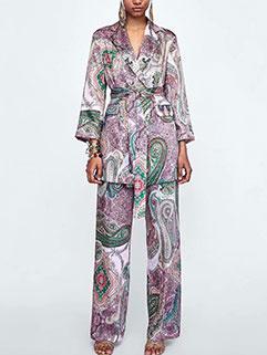 Vintage Style Printed Lapel Women Suit