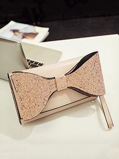 Fashion Bright Bow-tie Chain Clutch Purse