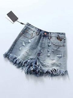 Fashion Worn Out High Waist Denim Shorts