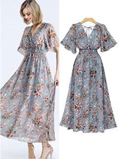Fresh V Neck Elastic Waist Floral Chiffon Dress