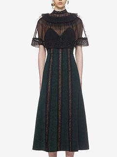 Deft Design Lace Gauze Patchwork Striped Dress