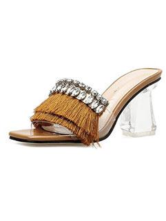 Korean Design Tassel Faux Diamond Slippers