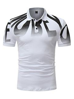 Fashion Gradient Color Letter Polo Shirt