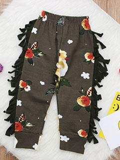 Chic Printed Tassels Casual Girls Pants