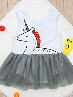 Fashion Printed Sleeveless Gauze Girls Dress