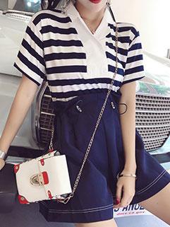 Korean Striped Spread Collar Fashion Suits