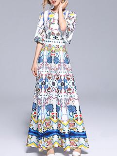 Graceful O Neck Printing Maxi Dresses