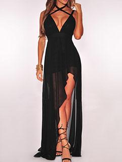 Sexy V-neck Cross Backless Asymmetrical Maxi Dresses