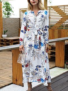 Elegant Floral Long Sleeve Long Dresses