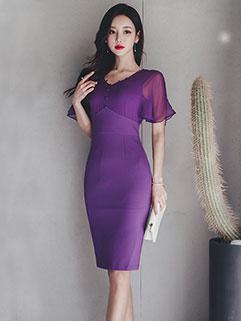 Elegant Shape V Neck Ruffles Fitted Dress