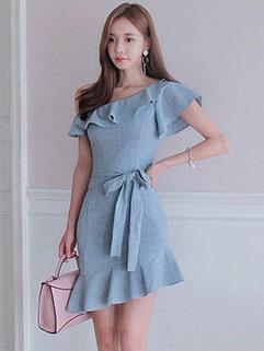 Korean Inclined Shoulder Ruffles Bodycon Dresses