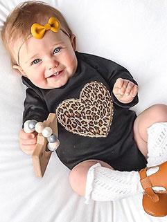 Euro Leopard Leopard Long Sleeve Baby Rompers