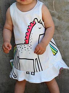 Sleeveless Printed Round Neck Baby Girl Dress