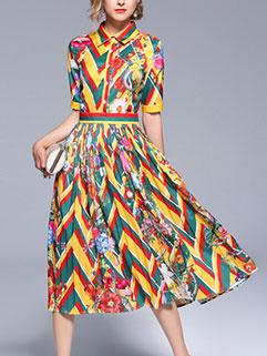 Euro Printing Pleated Short Sleeve Dresses