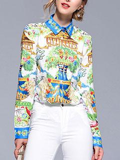 Euro Printed Spread Collar Ladies Blouse