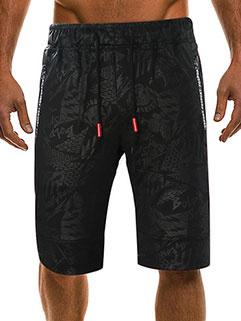 Drawstring Fashion Printing Casual Five Pants