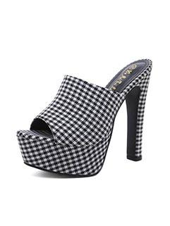Plaid Peep-Toe Platform Fashion Pumps