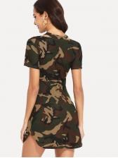 Fashion Camouflage Printed Short Sleeve Dress