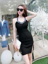 V Neck Letter Design Bodycon Dresses
