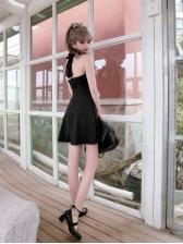 Korean Solid Halter Short Dresses