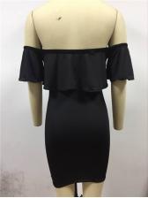Flounce Solid Off Shoulder Dresses