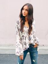 Fashion V Neck Floral Blouses
