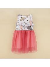 Euro Sleeveless Animal Printing Fluffy Girls Dress