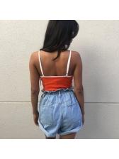 Summer V Neck Embroidery Solid Straps Bodysuit