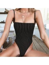 Euro Striped Straps Backless Sexy Bodysuit